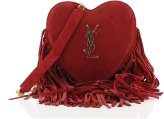Saint Laurent Fringe Love Heart Chain Bag Suede Small