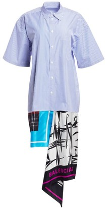 Balenciaga Striped Poplin Mixed-Scarf Shirtdress