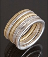 Set of 5 - sterling silver and 18kt gold 'Column' stacking rings