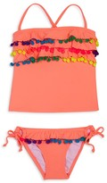 Pilyq Pily Q Girls' Pom Pom Ruffled Tankini - Little Kid, Big Kid