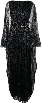 Talbot Runhof Metallic Long Tulle Dress