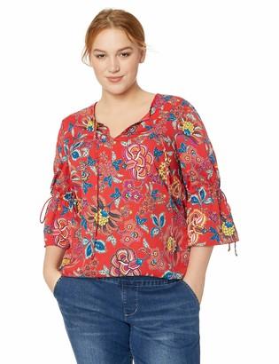 Junarose Women's Plus Size Fadina Three Quarter Sleeve Blouse