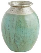 Pier 1 Imports Patina Turquoise & Silver Terracotta Vase