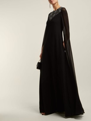Givenchy - Crystal-embellished Wool And Silk-chiffon Gown - Black