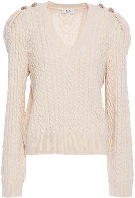Claudie Pierlot Button-embellished Cable-knit Wool-blend Sweater