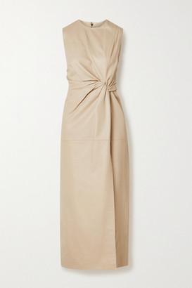 16Arlington Akiko Knotted Leather Midi Dress - Beige