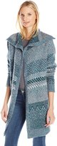 Leo & Nicole Women's Missy Long Sleeve Pattern Open Cardigan