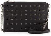 Neiman Marcus Grommet Faux-Leather Crossbody Bag, Black