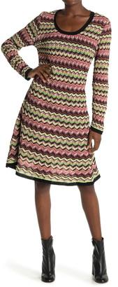 M Missoni Chevron Striped Long Sleeve Dress