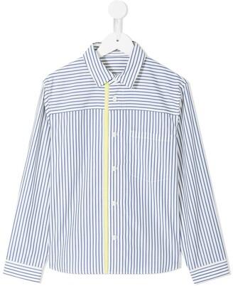 Familiar Striped Contrast Band Shirt