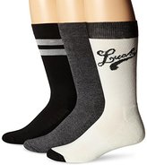 Lucky Brand Lucky Men's 3 Pair Pack Athletic Logo Crew Sock