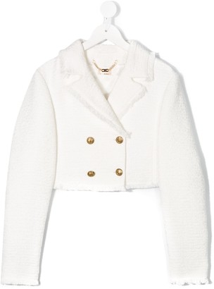 Elisabetta Franchi La Mia Bambina TEEN cropped double-breasted jacket