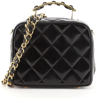 Chanel Chain Lunch Box Bag Quilted Patent Small