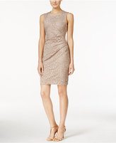 Calvin Klein Petite Ruched Lace Sheath Dress