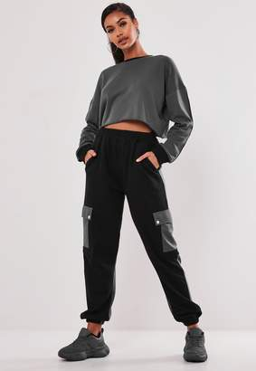 Missguided Blue Co Ord Colour Block Pocket Joggers