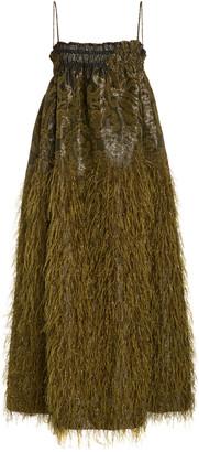 Ganni Feather-Embellished Jacquard Midi Dress