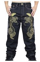 Huafeiwude Men's Hip-hop Embroidered Printed Baggy Denim Jeans 6 Designs