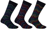 John Lewis Zigzag Socks, Pack Of 3, Black/multi