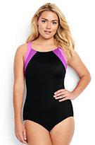 Classic Women's Plus Size Mastectomy High-neck One Piece Swimsuit-Electric Blue/Capri Aqua