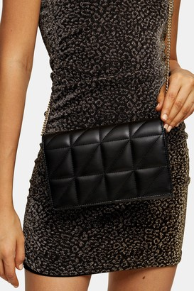 Topshop Womens Quilted Black Clutch Bag - Black