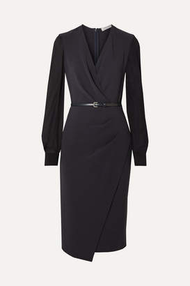 Max Mara Manuel Wrap-effect Wool-blend Crepe And Silk-chiffon Dress - Navy
