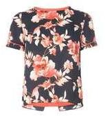 Dorothy Perkins Wopetite Floral Print T-shirt- Blue