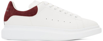 Alexander McQueen White and Burgundy Croc Oversized Sneakers