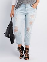 Charlotte Russe Plus Size Refuge Crop Boyfriend Destroyed Jeans