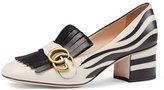 Gucci Marmont Fringe Suede 55mm Loafer, Argento