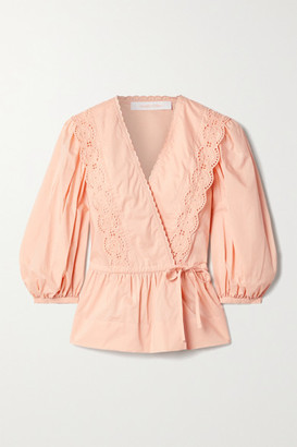 See By Chloe - Broderie Anglaise-trimmed Cotton-poplin Wrap Blouse - Peach