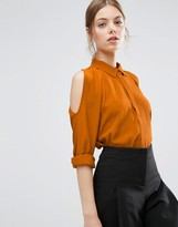 Asos Cold Shoulder Oversized Blouse with Batwing Sleeve