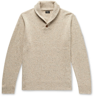 J.Crew Shawl-Collar Melange Merino Wool-Blend Sweater