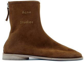 Acne Studios Brown Suede Branded Ankle Boots