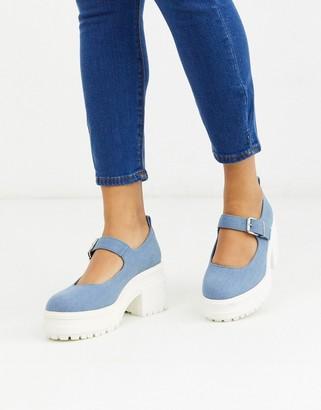 Asos DESIGN Shaky chunky mary-jane heels in denim