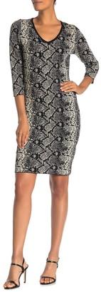 V-neck Snake Print 3/4 Sleeve Dress