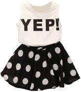 Orangeskycn Girls Letter Vest Dot Skirt Two Pieces Set Clothes Children Skirt Suit (Age:4-5Y)