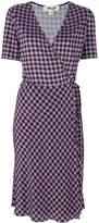 Diane von Furstenberg plaid silk wrap dress