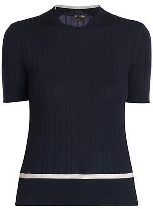 Loro Piana Cashmere & Silk Short-Sleeve Crewneck Sweater