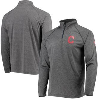 Stitches Men's Heathered Gray Cleveland Indians Two-Hit Quarter-Zip Raglan Pullover Jacket