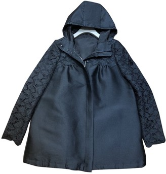Moncler Black Wool Trench Coat for Women