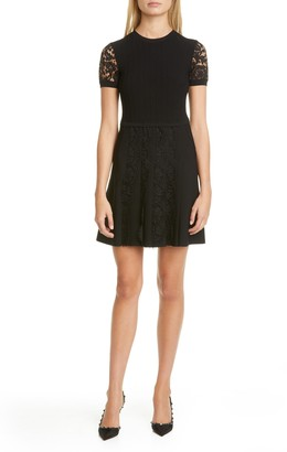 Valentino Lace Detail Sweater Minidress