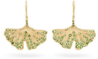 Aurelie Bidermann Fine Jewellery - Ginkgo Leaf 18kt Gold & Tsavorite Drop Earrings - Womens - Gold