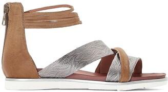 Mjus Metallic Leather Cross-Strap Flat Sandals