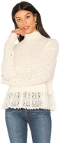 Rebecca Taylor Pop Stich Pullover in Ivory