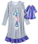 SO Girls 4-14 SO® Penguin Nightgown & Doll Gown Pajama Set