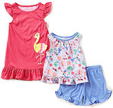 Komar Kids Little Girls 2T-4T Flamingo-Print Top, Shorts, & Dotted Gown 3-Piece Pajama Set