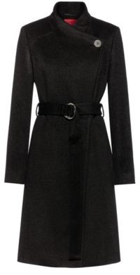 HUGO BOSS Belted coat with alpaca and virgin wool