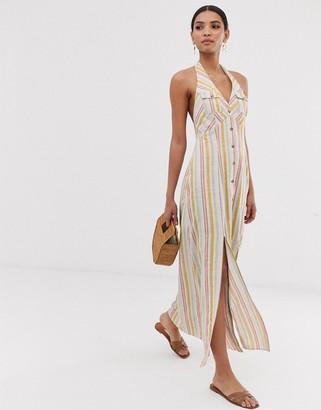 Asos Design DESIGN button through halter neck maxi dress in stripe-Multi