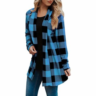 Kalorywee Sale Clearance Outwear KaloryWee Checked Cardigans Plaid Style Open Front Long Full Sleeve Lightweight Cardigan Sweater Blue