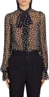 Dolce & Gabbana Polka Dot Sheer Chiffon Blouse